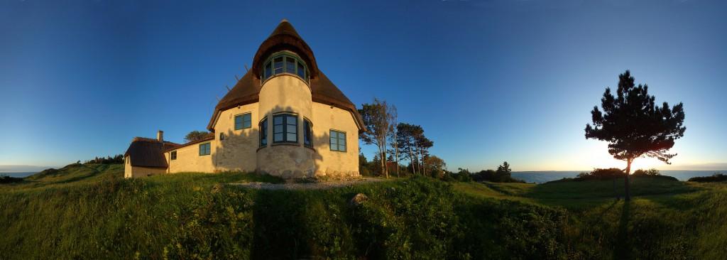 Panorama foto af Knud Rasmussens hus i hundested, ud mod kattegat