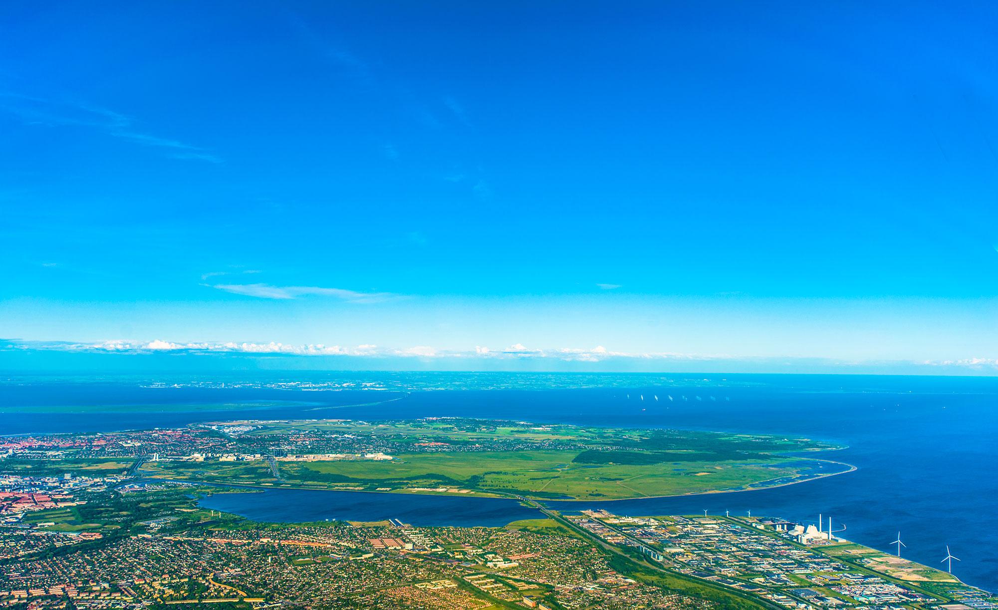 Luftfoto af amager, køge bugt og advedøre holme