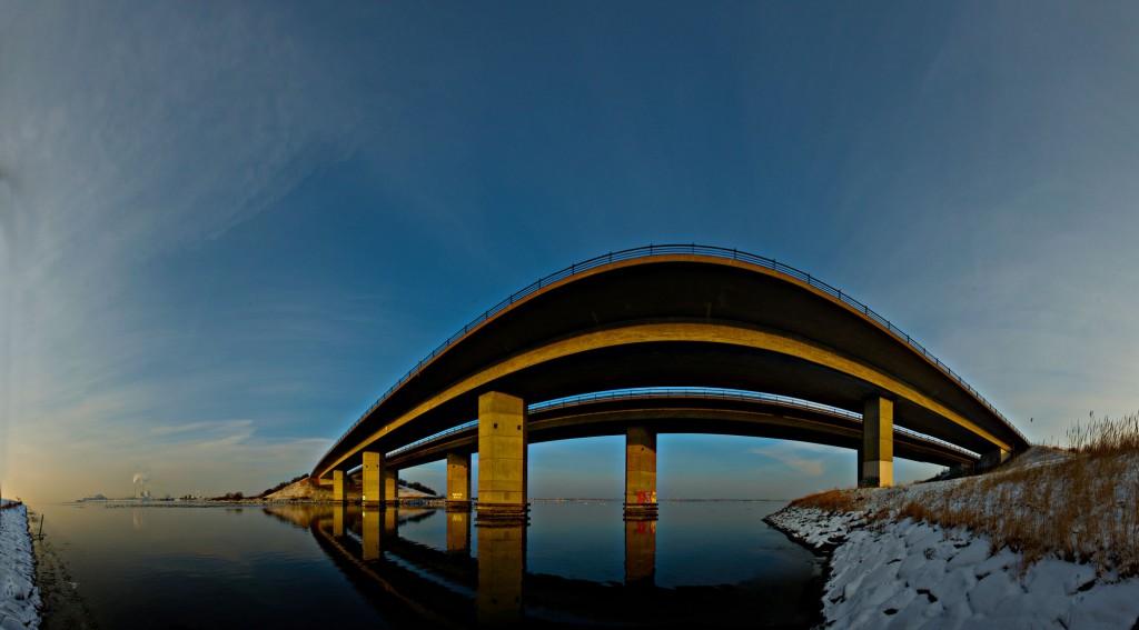 Amagerbroen i vinter solnedgang