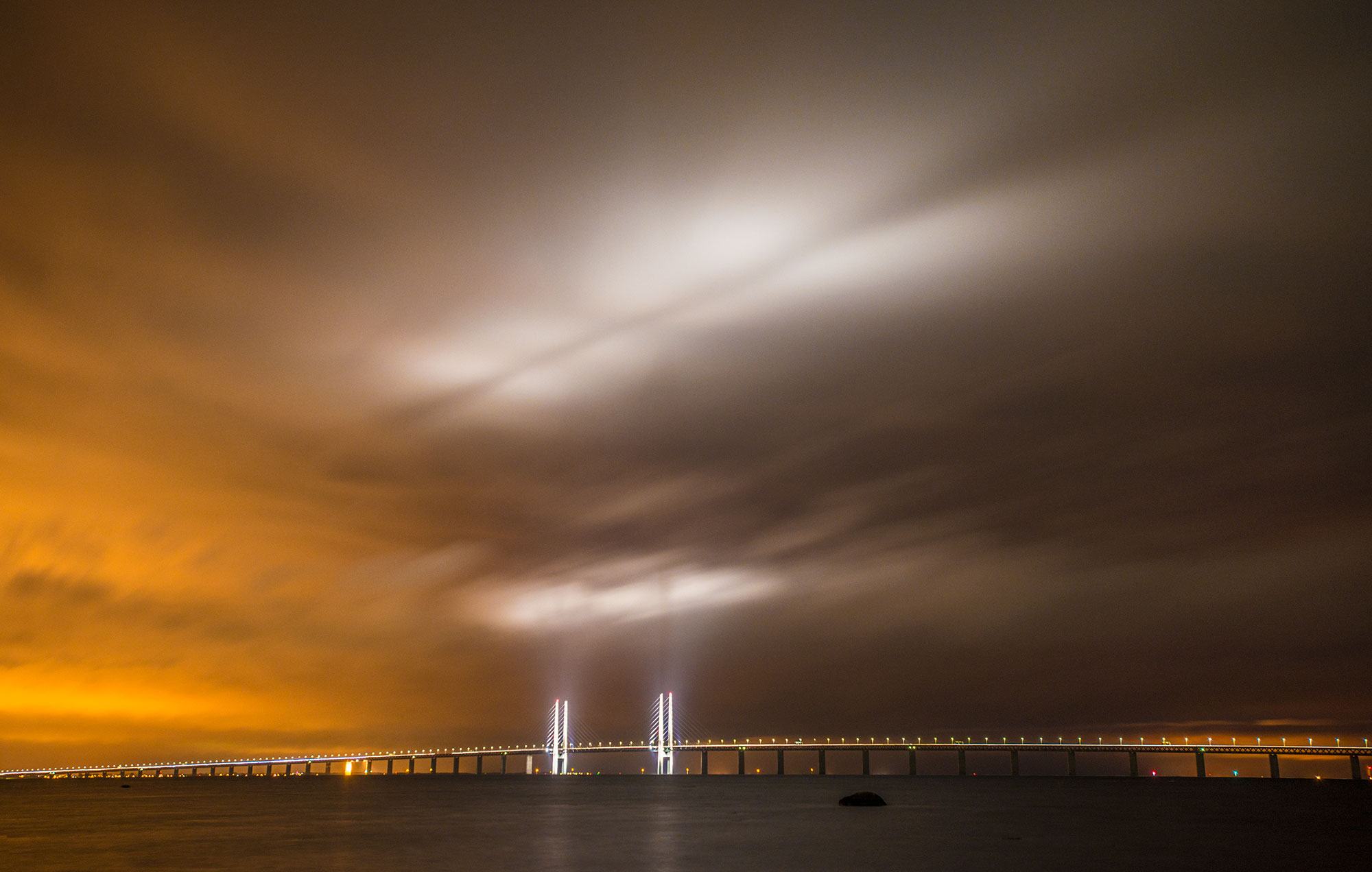 Oresund Bridge at night, saltholm, Peberholm, denmark