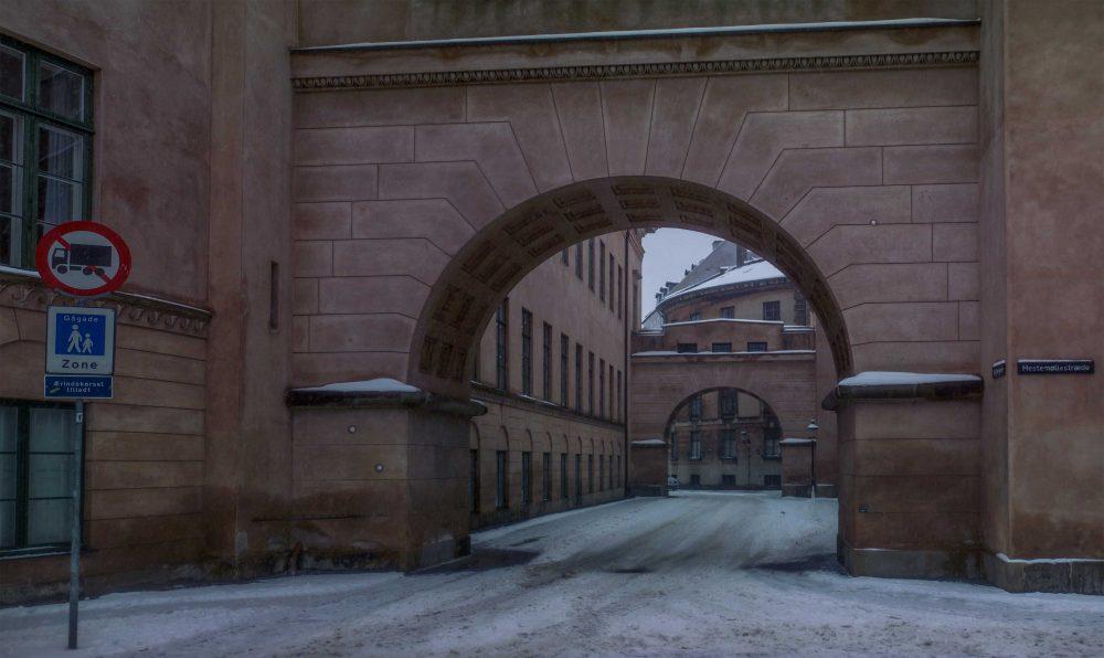 Byretten i snevejr om vinteren