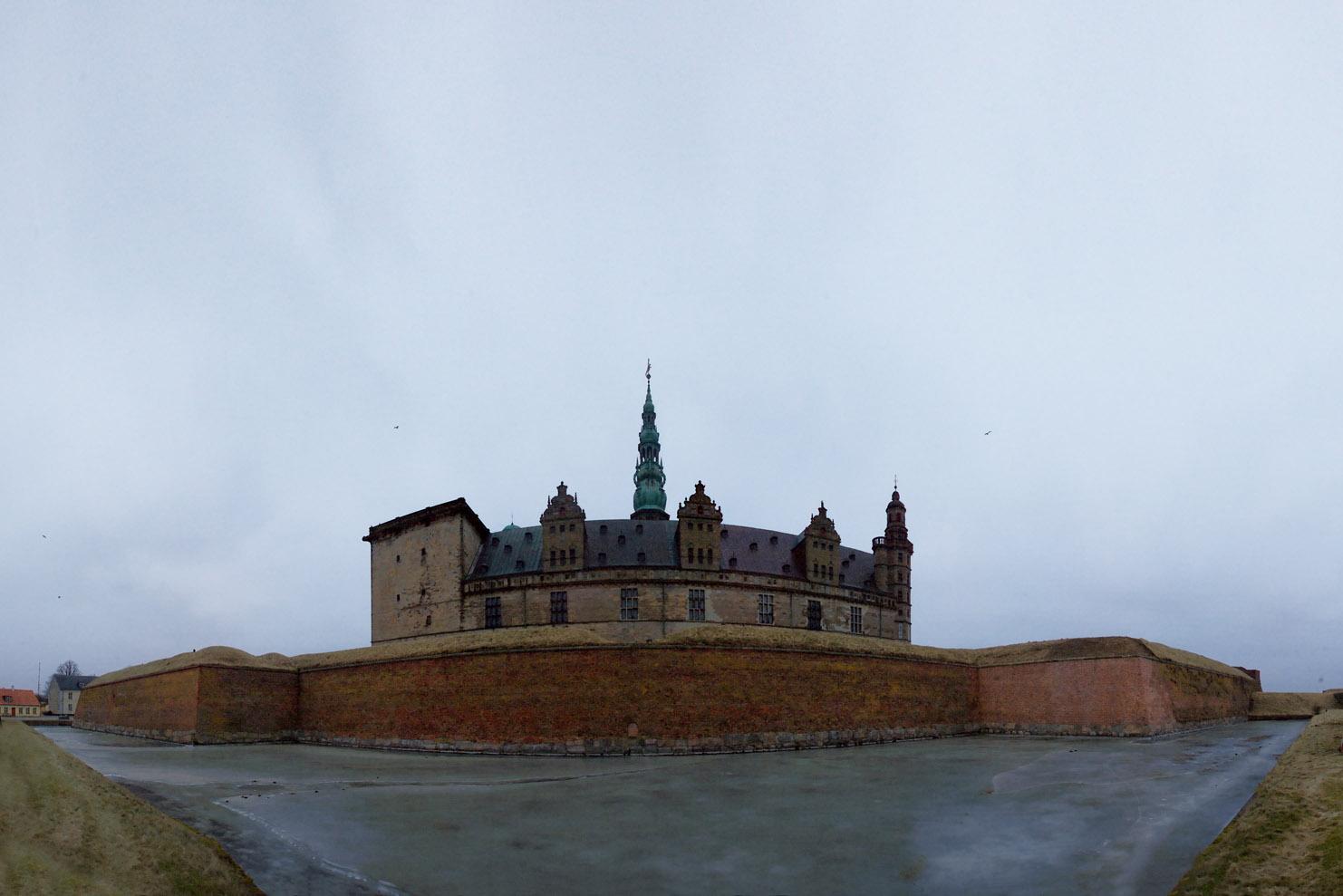 Kronborg slot vinter panorama