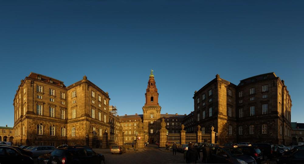 Christiansborg palace på vrangen med panoramafoto